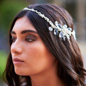 Corona novia marfil y blanco
