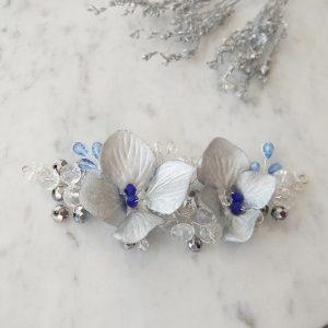 Tocado azul novia